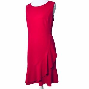 Red Dress with side ruffle by Tommy Hilfiger